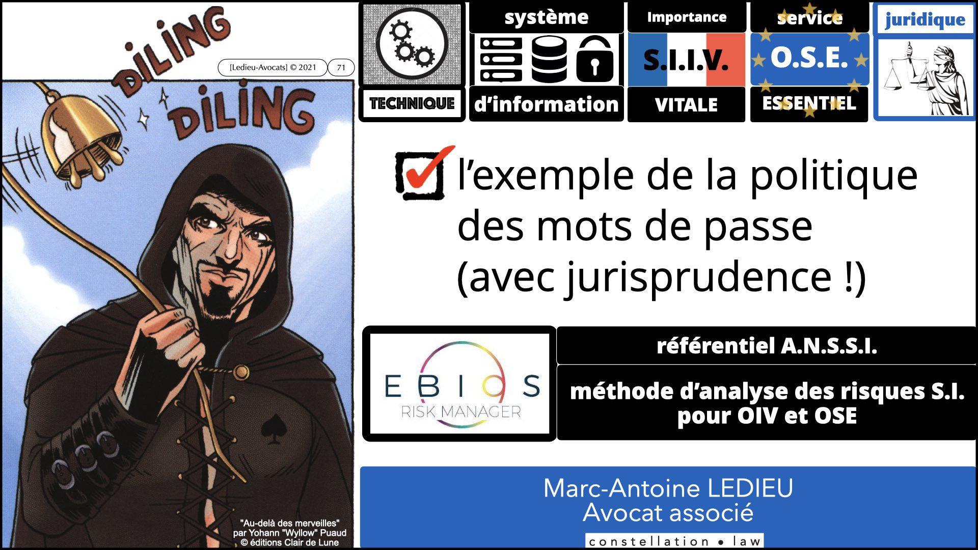 342 droit mot de passe OIV OSE ANALYSE de RISQUE EBIOS RM © Ledieu-Avocats technique droit numérique 05-09-2021.001