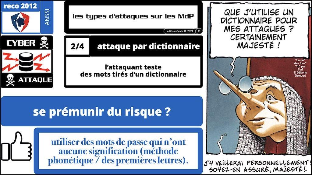 347 droit MOT PASSE authentification ANSSI + CNIL + jurisprudence 2018->2021 © Ledieu-Avocats technique droit numérique.021