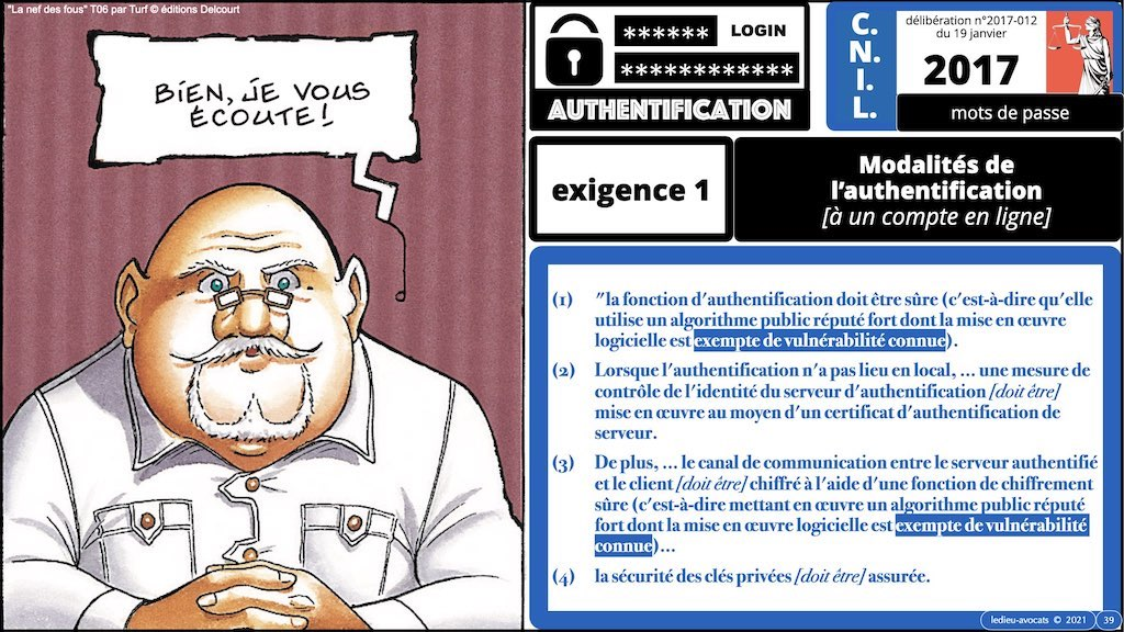 347 droit MOT PASSE authentification ANSSI + CNIL + jurisprudence 2018->2021 © Ledieu-Avocats technique droit numérique.039
