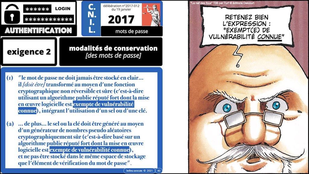 347 droit MOT PASSE authentification ANSSI + CNIL + jurisprudence 2018->2021 © Ledieu-Avocats technique droit numérique.040
