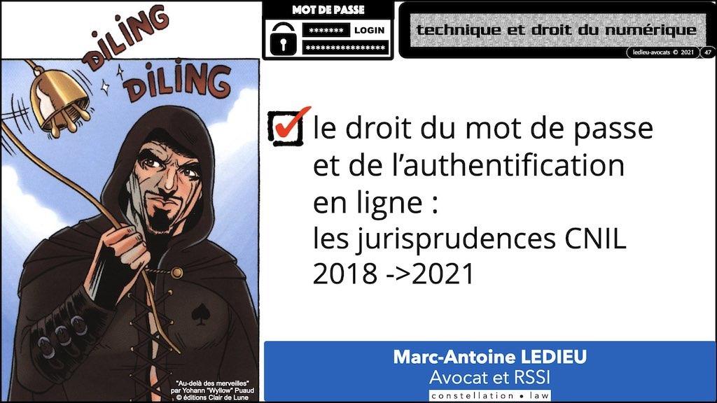 347 droit MOT PASSE authentification ANSSI + CNIL + jurisprudence 2018->2021 © Ledieu-Avocats technique droit numérique.047